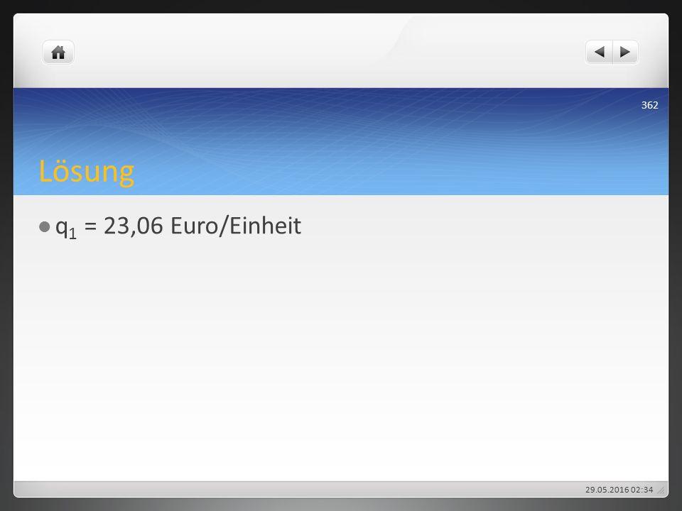 Lösung q 1 = 23,06 Euro/Einheit 29.05.2016 02:38 362