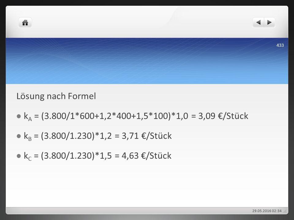 Lösung nach Formel k A = (3.800/1*600+1,2*400+1,5*100)*1,0 = 3,09 €/Stück k B = (3.800/1.230)*1,2 = 3,71 €/Stück k C = (3.800/1.230)*1,5 = 4,63 €/Stück 29.05.2016 02:38 433