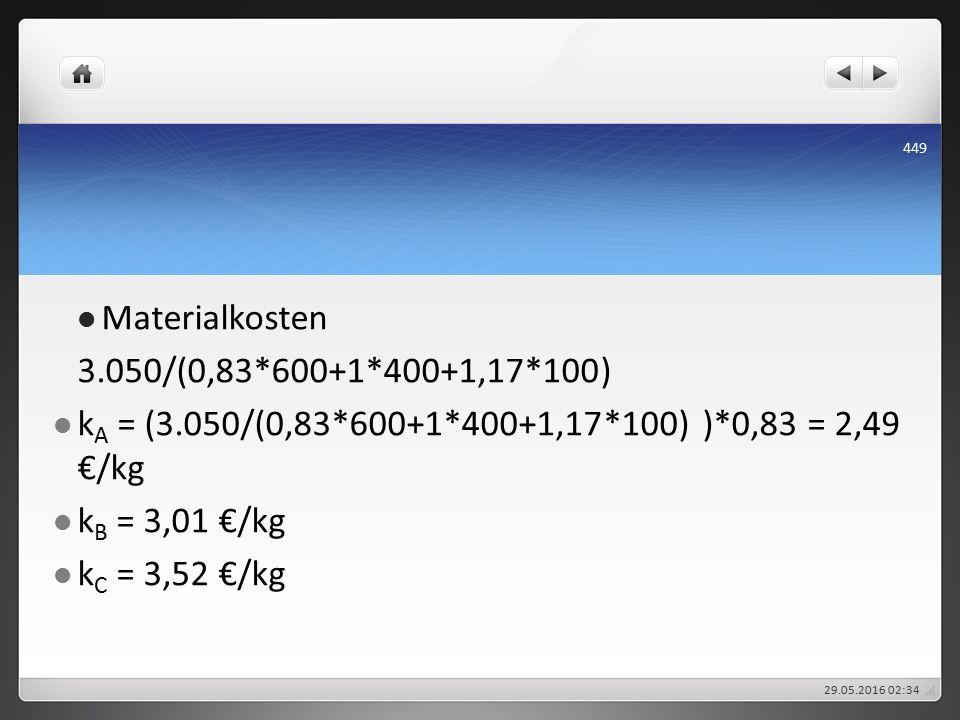 Materialkosten 3.050/(0,83*600+1*400+1,17*100) k A = (3.050/(0,83*600+1*400+1,17*100) )*0,83 = 2,49 €/kg k B = 3,01 €/kg k C = 3,52 €/kg 29.05.2016 02:38 449