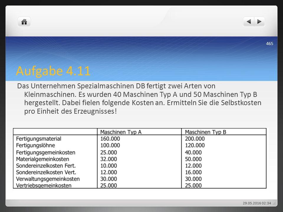 Aufgabe 4.11 Das Unternehmen Spezialmaschinen DB fertigt zwei Arten von Kleinmaschinen.