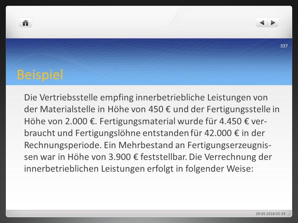 Beispiel Die Vertriebsstelle empfing innerbetriebliche Leistungen von der Materialstelle in Höhe von 450 € und der Fertigungsstelle in Höhe von 2.000 €.