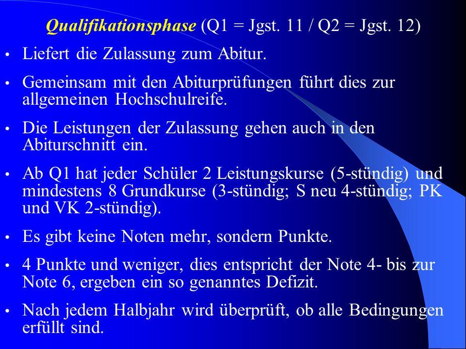 Qualifikationsphase (Q1 = Jgst.11 / Q2 = Jgst. 12) Liefert die Zulassung zum Abitur.