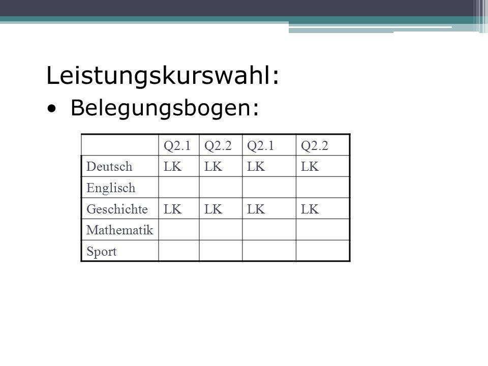 Leistungskurswahl: Belegungsbogen: Q2.1Q2.2Q2.1Q2.2 DeutschLK Englisch GeschichteLK Mathematik Sport