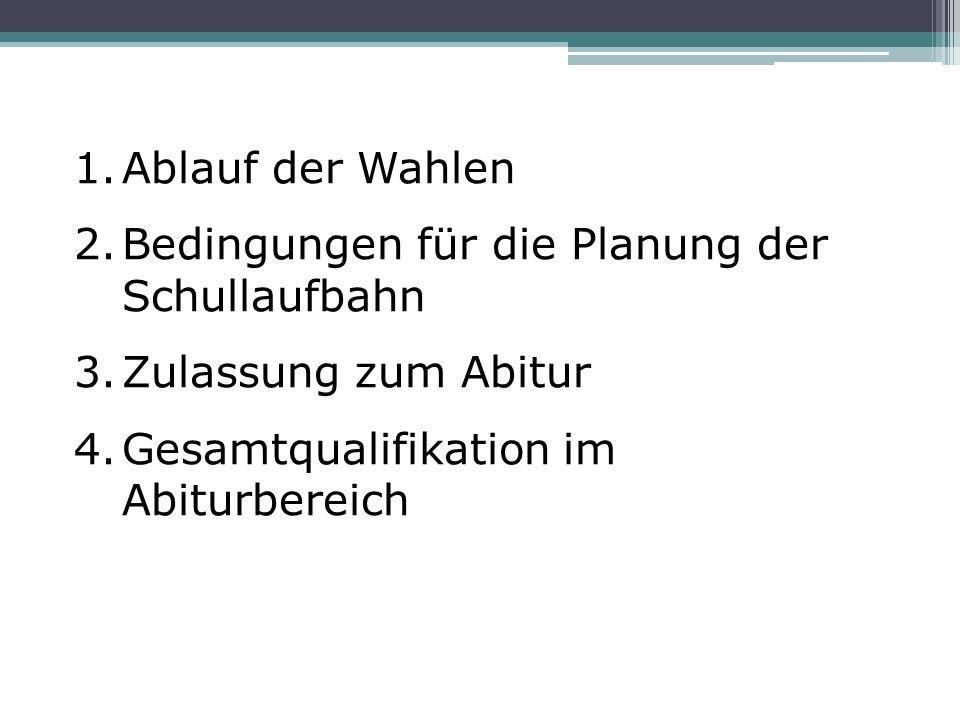 1.Ablauf der Wahlen 2.Bedingungen für die Planung der Schullaufbahn 3.Zulassung zum Abitur 4.Gesamtqualifikation im Abiturbereich