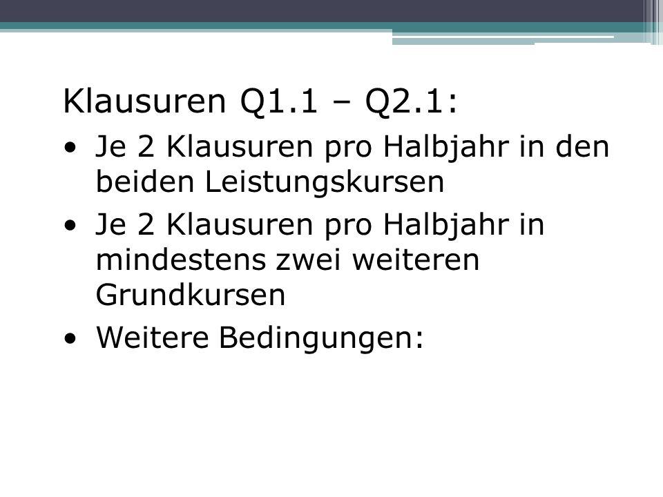 Klausuren Q1.1 – Q2.1: Je 2 Klausuren pro Halbjahr in den beiden Leistungskursen Je 2 Klausuren pro Halbjahr in mindestens zwei weiteren Grundkursen Weitere Bedingungen: