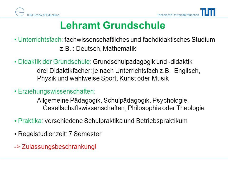Technische Universität München TUM School of Education Lehramt Grundschule Unterrichtsfach: fachwissenschaftliches und fachdidaktisches Studium z.B.