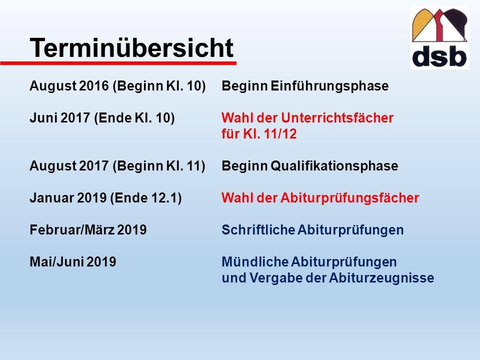 Terminübersicht August 2016 (Beginn Kl. 10) Beginn Einführungsphase Juni 2017 (Ende Kl.