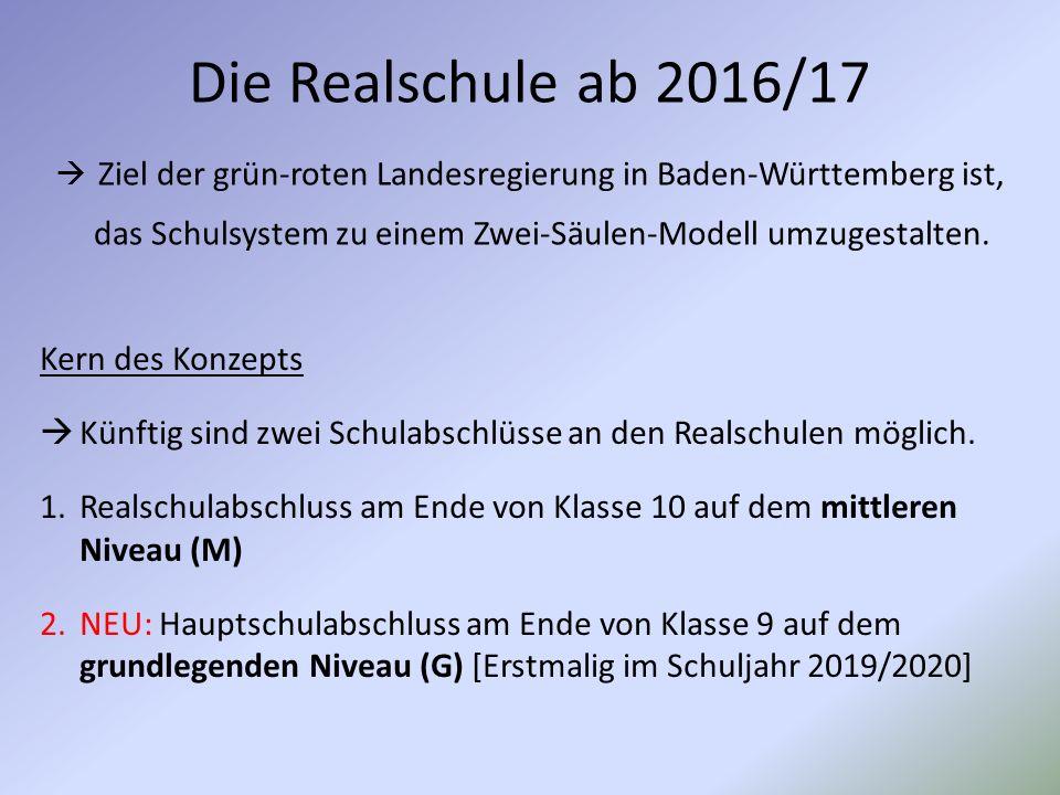 Die Realschule ab 2016/17  Ziel der grün-roten Landesregierung in Baden-Württemberg ist, das Schulsystem zu einem Zwei-Säulen-Modell umzugestalten.