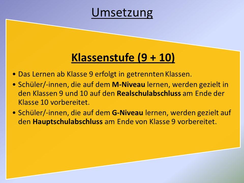 Umsetzung Klassenstufe (9 + 10) Das Lernen ab Klasse 9 erfolgt in getrennten Klassen.