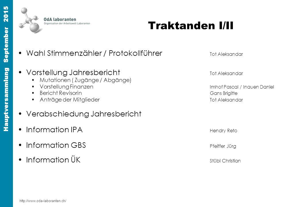 http://www.oda-laboranten.ch/ Hauptversammlung September 2015 Traktanden II/II Neuwahlen Nachfolge Pascal ImhofTot Aleksandar Varia / Anträge der Mitglieder
