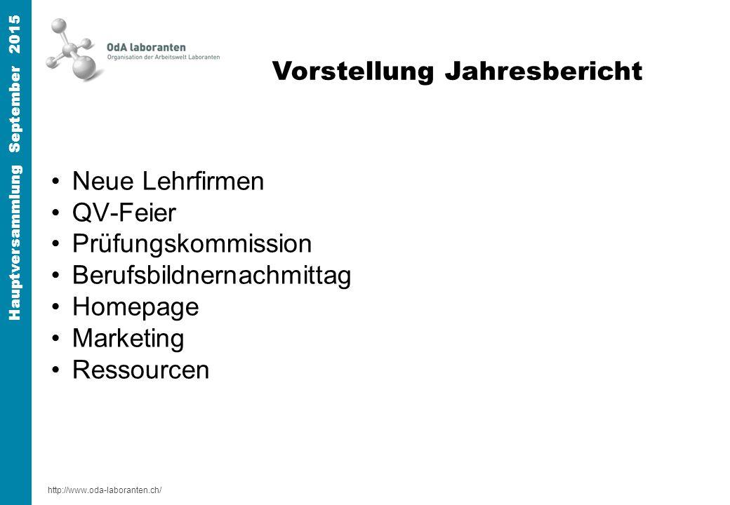 http://www.oda-laboranten.ch/ Hauptversammlung September 2015 Neue Lehrfirmen QV-Feier Prüfungskommission Berufsbildnernachmittag Homepage Marketing Ressourcen Informationen Vorstellung Jahresbericht