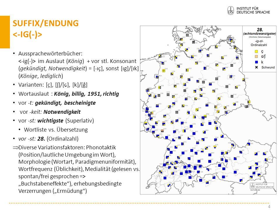 Chemie: Hauptvarianten: [kʰ], [ʃ]/[ɕ], [ç] Nebenvarianten: [x] (Schweiz), [kx] (Tirol) areal gebundene Variation national + subnational: Variantengren