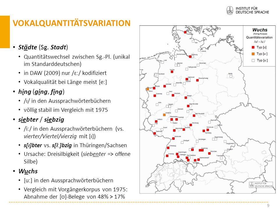 Städte (Sg.Stadt) Quantitätswechsel zwischen Sg.-Pl.