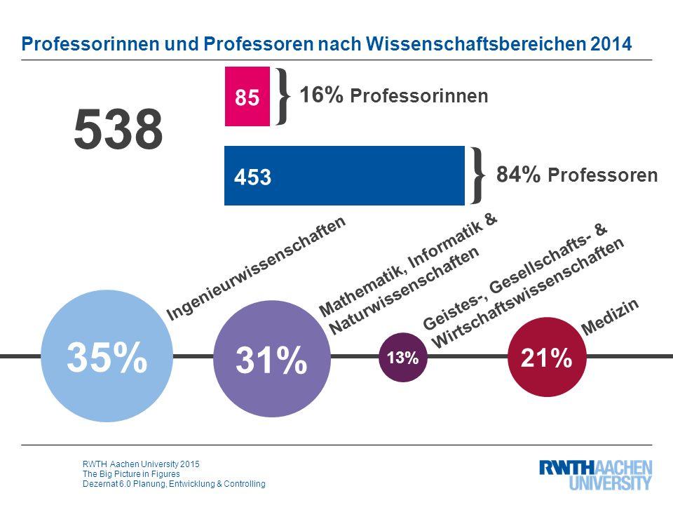 RWTH Aachen University 2015 The Big Picture in Figures Dezernat 6.0 Planung, Entwicklung & Controlling Professorinnen und Professoren nach Wissenschaf