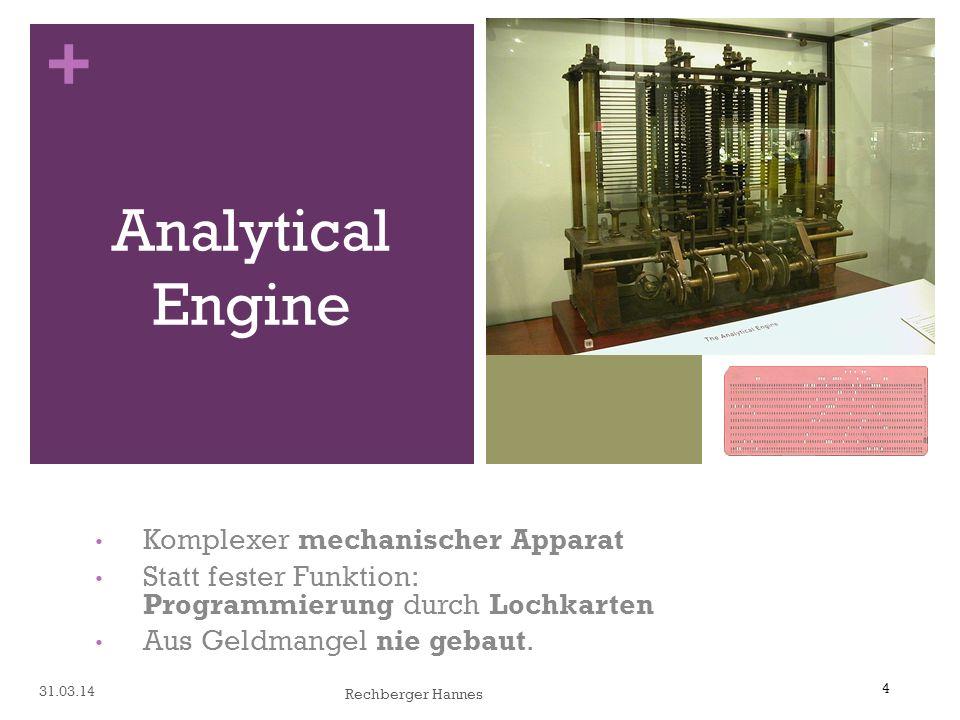 4 + Komplexer mechanischer Apparat Statt fester Funktion: Programmierung durch Lochkarten Aus Geldmangel nie gebaut.