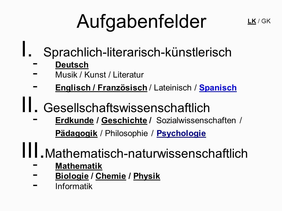 Aufgabenfelder I. Sprachlich-literarisch-künstlerisch - Deutsch - Musik / Kunst / Literatur - Englisch / Französisch / Lateinisch / Spanisch II. Gesel