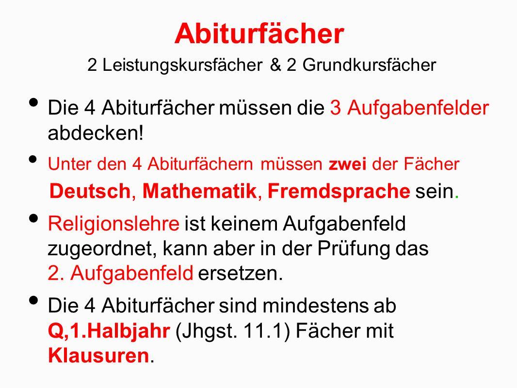Abiturfächer Die 4 Abiturfächer müssen die 3 Aufgabenfelder abdecken! Unter den 4 Abiturfächern müssen zwei der Fächer Deutsch, Mathematik, Fremdsprac