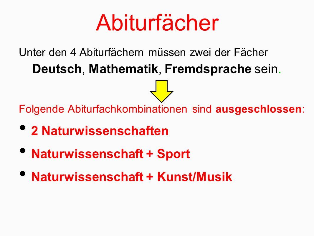 Abiturfächer Unter den 4 Abiturfächern müssen zwei der Fächer Deutsch, Mathematik, Fremdsprache sein. Folgende Abiturfachkombinationen sind ausgeschlo