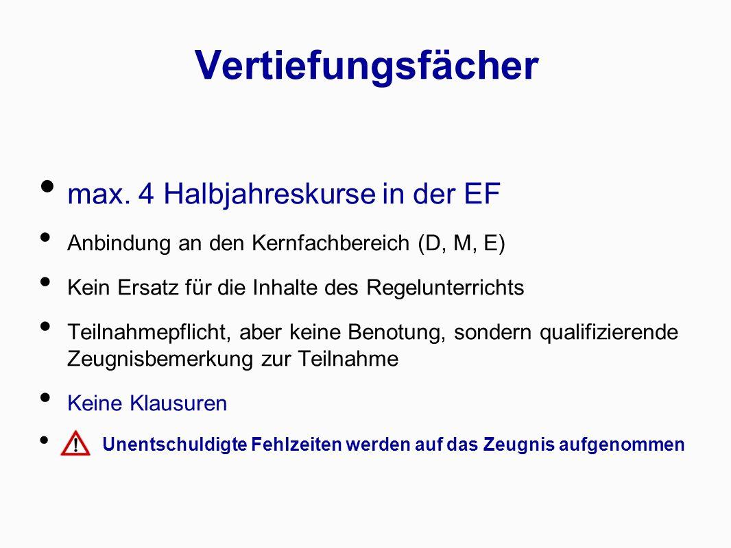 Vertiefungsfächer max. 4 Halbjahreskurse in der EF Anbindung an den Kernfachbereich (D, M, E) Kein Ersatz für die Inhalte des Regelunterrichts Teilnah