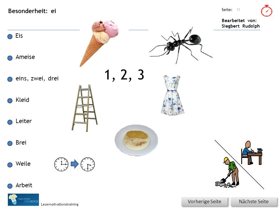 Übungsart: Seite: Bearbeitet von: Siegbert Rudolph Lesemotivationstraining Besonderheit: ei Eis Ameise eins, zwei, drei Kleid Leiter Brei Weile Arbeit 13 Nächste Seite Vorherige Seite 1, 2, 3