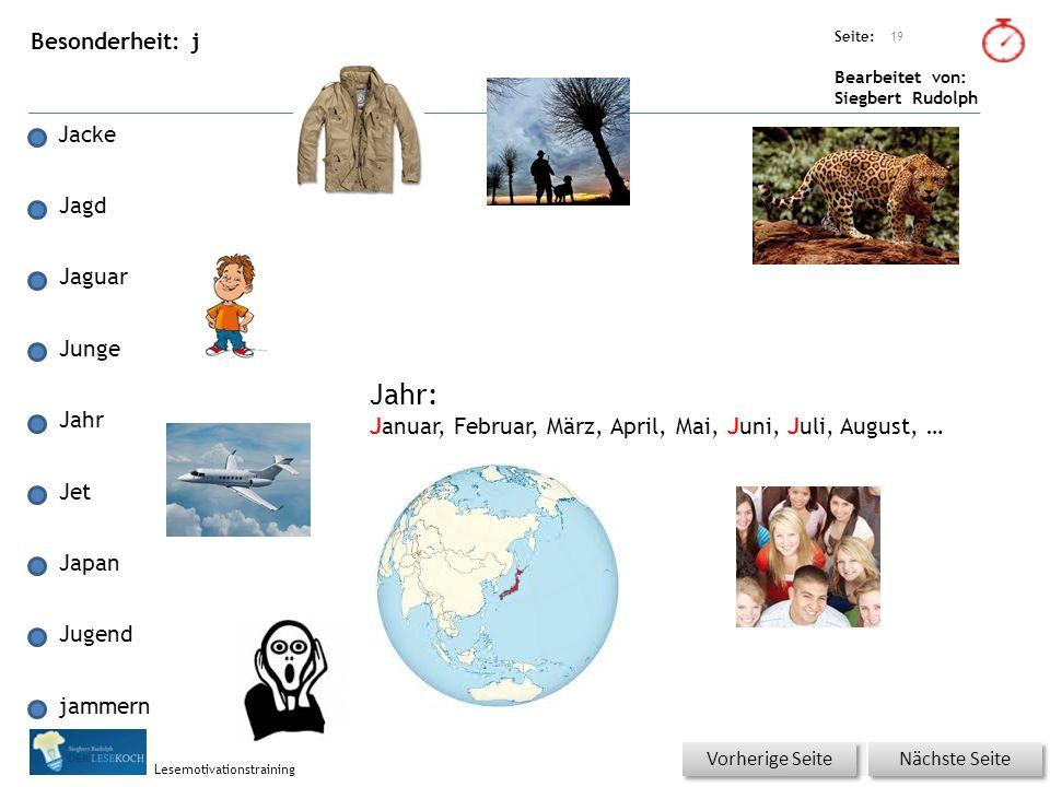Übungsart: Seite: Bearbeitet von: Siegbert Rudolph Lesemotivationstraining Besonderheit: j Jacke Jagd Jaguar Junge Jahr Jet Japan Jugend jammern 19 Nä