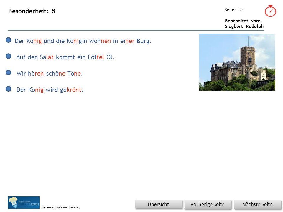 Übungsart: Seite: Bearbeitet von: Siegbert Rudolph Lesemotivationstraining Besonderheit: ö 24 Nächste Seite Vorherige Seite Der König und die Königin wohnen in einer Burg.