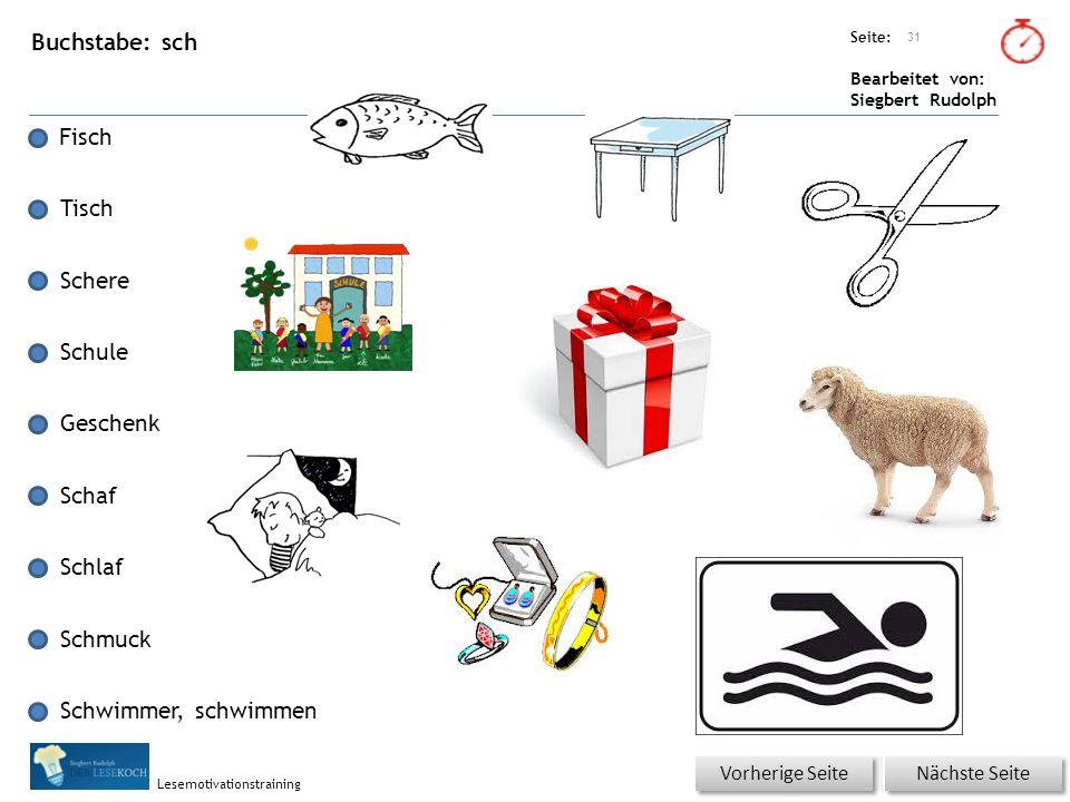 Übungsart: Seite: Bearbeitet von: Siegbert Rudolph Lesemotivationstraining Buchstabe: sch Fisch Tisch Schere Schule Geschenk Schaf Schlaf Schmuck Schw