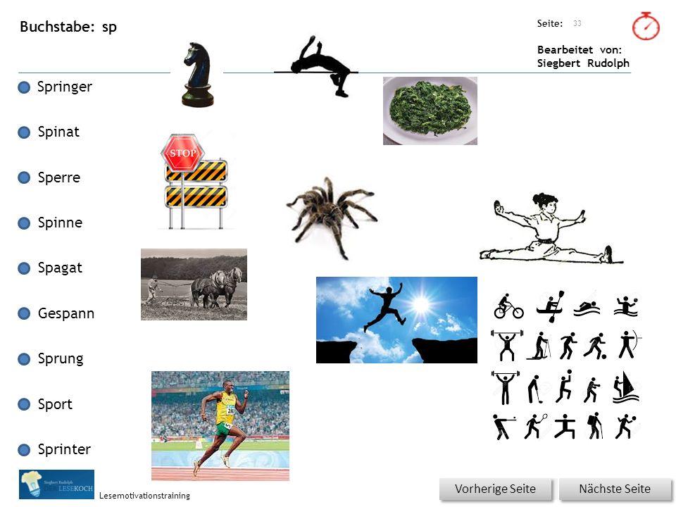 Übungsart: Seite: Bearbeitet von: Siegbert Rudolph Lesemotivationstraining Buchstabe: sp Springer Spinat Sperre Spinne Spagat Gespann Sprung Sport Sprinter 33 Nächste Seite Vorherige Seite