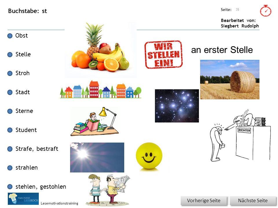 Übungsart: Seite: Bearbeitet von: Siegbert Rudolph Lesemotivationstraining Buchstabe: st Obst Stelle Stroh Stadt Sterne Student Strafe, bestraft strah