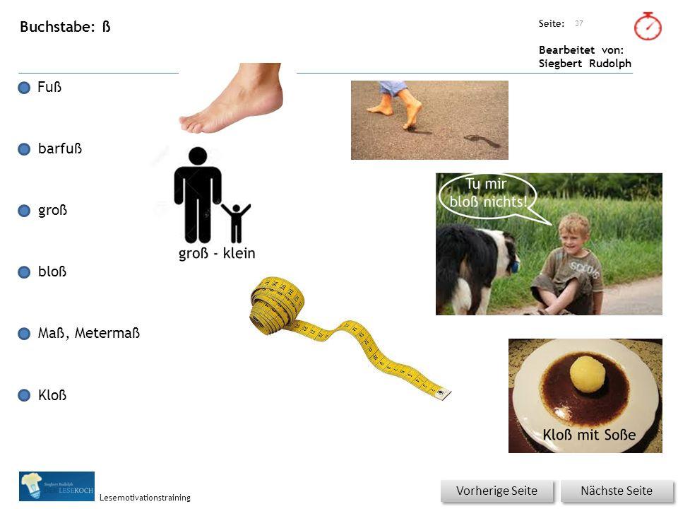 Übungsart: Seite: Bearbeitet von: Siegbert Rudolph Lesemotivationstraining Buchstabe: ß Fuß barfuß groß bloß Maß, Metermaß Kloß 37 Nächste Seite Vorhe
