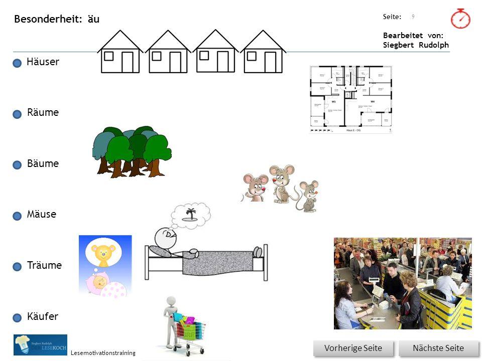 Übungsart: Seite: Bearbeitet von: Siegbert Rudolph Lesemotivationstraining Besonderheit: äu 10 Nächste Seite Vorherige Seite In einem Dorf gibt es Häuser und Bäume.