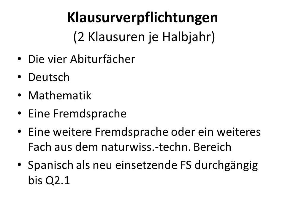 Klausurverpflichtungen (2 Klausuren je Halbjahr) Die vier Abiturfächer Deutsch Mathematik Eine Fremdsprache Eine weitere Fremdsprache oder ein weiteres Fach aus dem naturwiss.-techn.