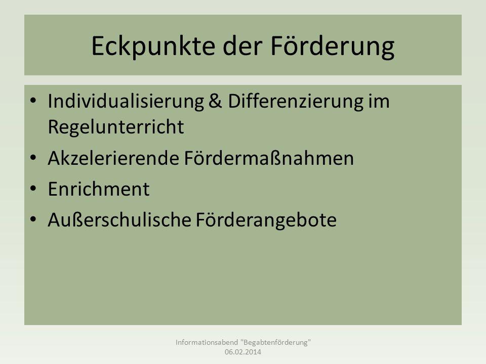 Eckpunkte der Förderung Individualisierung & Differenzierung im Regelunterricht Akzelerierende Fördermaßnahmen Enrichment Außerschulische Förderangebote Informationsabend Begabtenförderung 06.02.2014