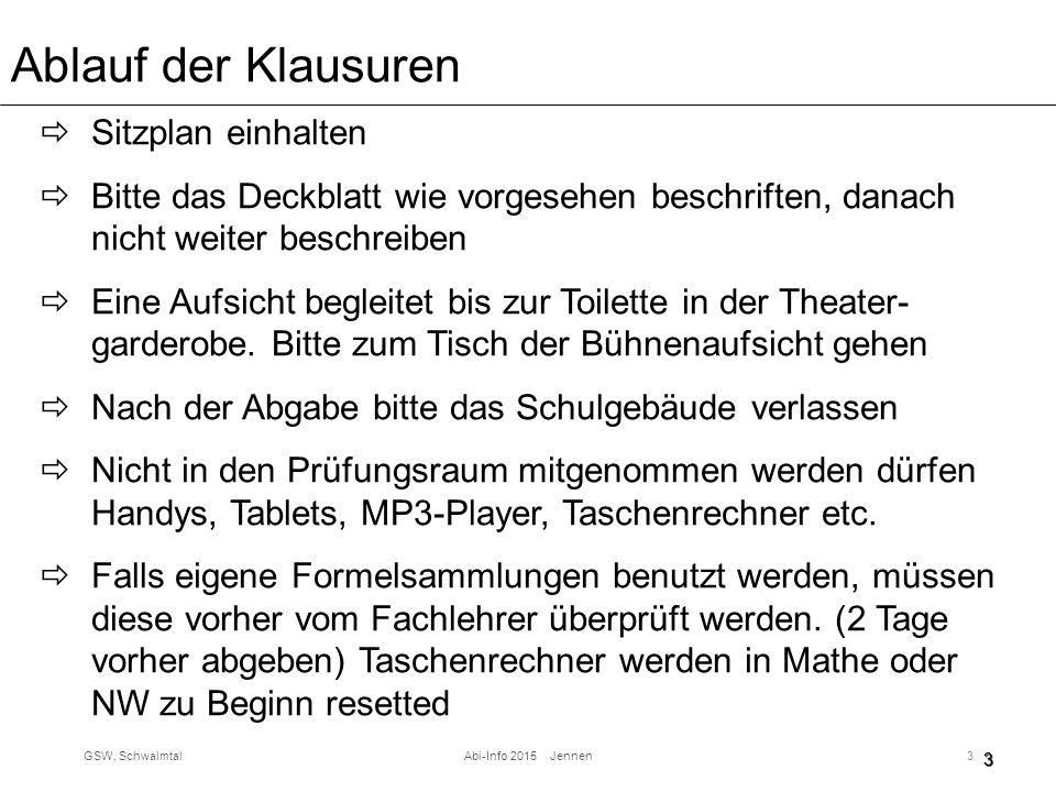 GSW, SchwalmtalAbi-Info 2015 Jennen3 Ablauf der Klausuren  Sitzplan einhalten  Bitte das Deckblatt wie vorgesehen beschriften, danach nicht weiter beschreiben  Eine Aufsicht begleitet bis zur Toilette in der Theater- garderobe.