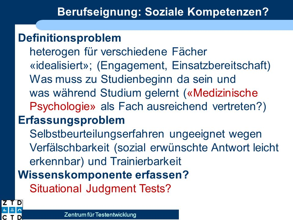 Berufseignung: Soziale Kompetenzen.