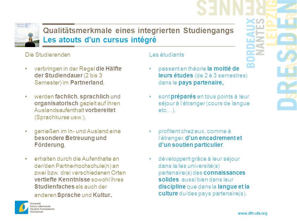 www.dfh-ufa.org Qualitätsmerkmale eines integrierten Studiengangs Les atouts d un cursus intégré Les étudiants passent en théorie la moitié de leurs études (de 2 à 3 semestres) dans le pays partenaire, sont préparés en tous points à leur séjour à l'étranger (cours de langue etc…), profitent chez eux, comme à l'étranger, d'un encadrement et d'un soutien particulier, développent grâce à leur séjour dans la/les université(s) partenaire(s) des connaissances solides, aussi bien dans leur discipline que dans la langue et la culture du/des pays partenaire(s).