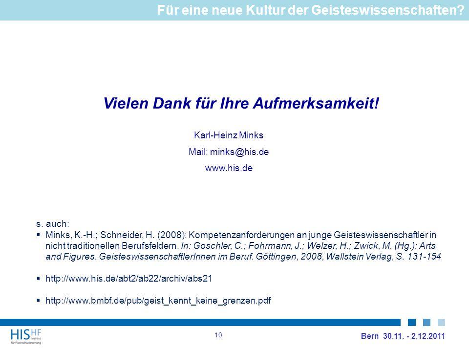 Vielen Dank für Ihre Aufmerksamkeit. Karl-Heinz Minks Mail: minks@his.de www.his.de Bern 30.11.