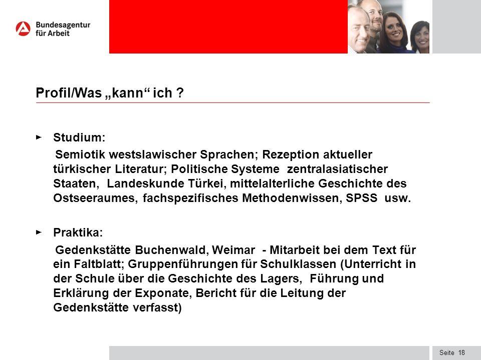 """Seite Profil/Was """"kann ich ."""