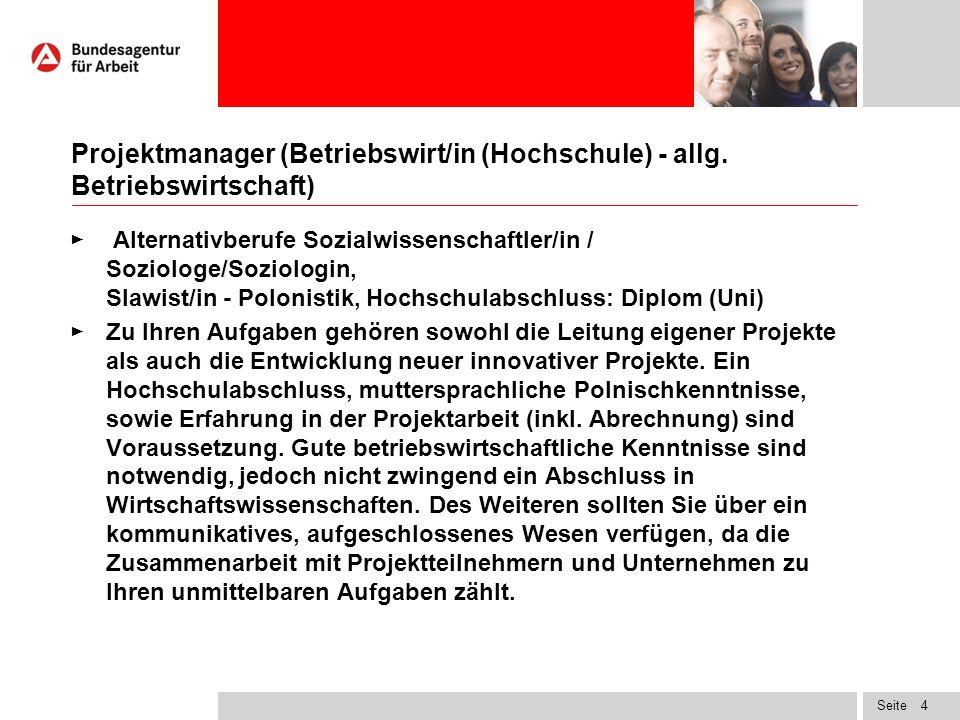 Seite Projektmanager (Betriebswirt/in (Hochschule) - allg.