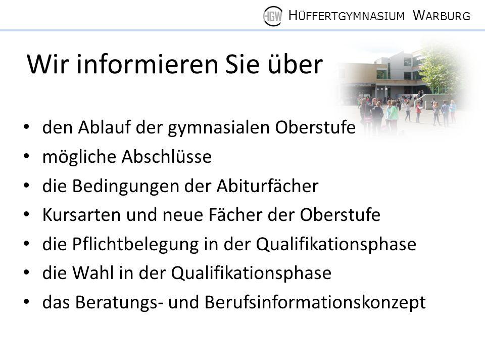 H ÜFFERTGYMNASIUM W ARBURG Anzahl der Wochenstunden Durchschnittliche zu belegende Wochenstundenanzahl in der Einführungs- und in der Qualifikationsphase