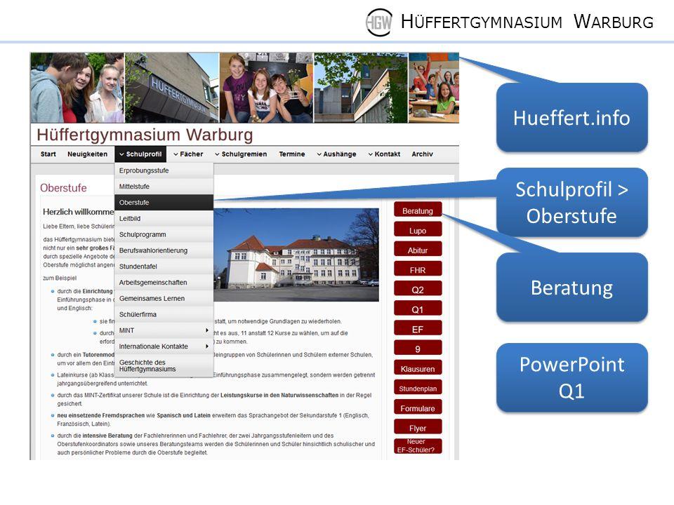 H ÜFFERTGYMNASIUM W ARBURG Hueffert.info Schulprofil > Oberstufe Beratung PowerPoint Q1