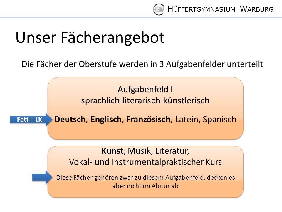 H ÜFFERTGYMNASIUM W ARBURG Pflichtbelegung der Oberstufe 1) Deutschs s s m 2) 1 Fremdsprache s s s m(s) 3) 2.