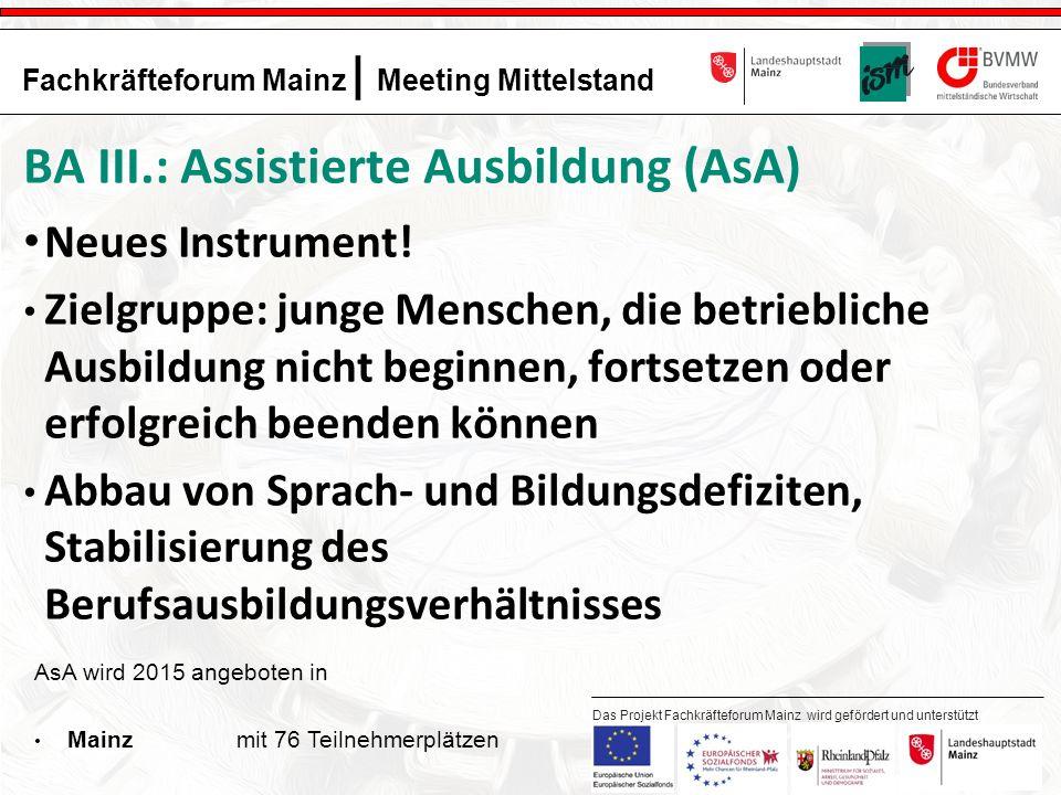 13 Fachkräfteforum Mainz | Meeting Mittelstand Das Projekt Fachkräfteforum Mainz wird gefördert und unterstützt durch: BA III.: Assistierte Ausbildung (AsA) Neues Instrument.