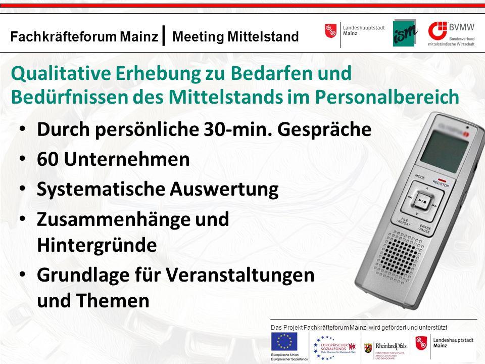 8 Fachkräfteforum Mainz | Meeting Mittelstand Das Projekt Fachkräfteforum Mainz wird gefördert und unterstützt durch: Qualitative Erhebung zu Bedarfen und Bedürfnissen des Mittelstands im Personalbereich Durch persönliche 30-min.