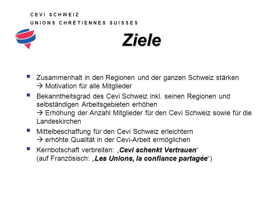 C E V I S C H W E I Z U N I O N S C H R É T I E N N E S S U I S S E S Kampagne  Region Bern: Eigene Kampagne im August 2004: Super-Erfolg (hohe Motivation der Mitglieder, sowie erhöhte Spenden).