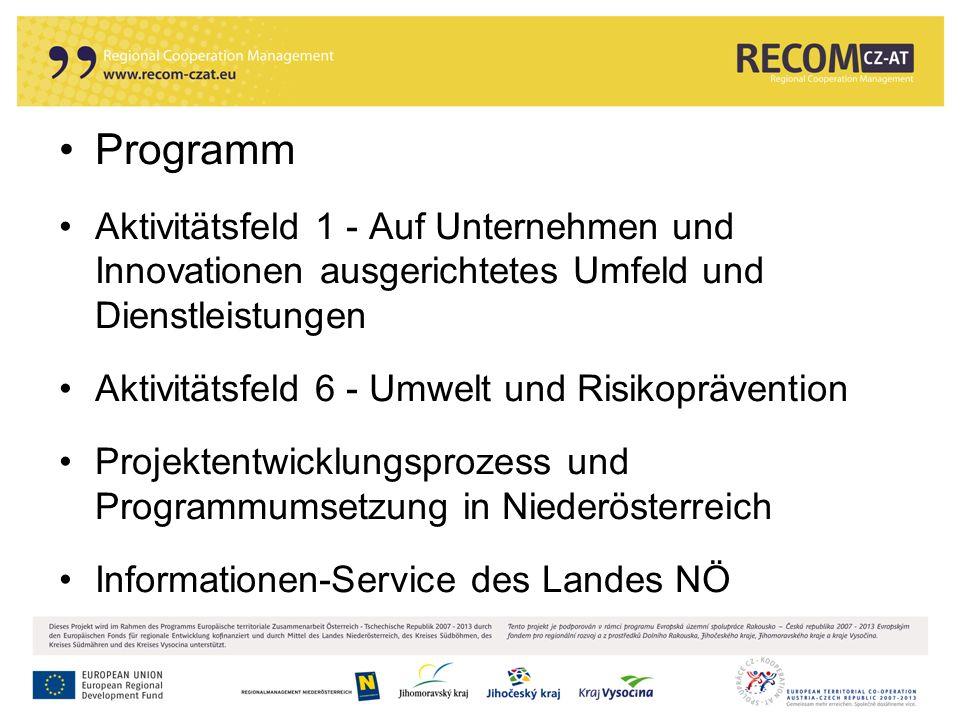 12 Programm Aktivitätsfeld 1 - Auf Unternehmen und Innovationen ausgerichtetes Umfeld und Dienstleistungen Aktivitätsfeld 6 - Umwelt und Risikoprävent