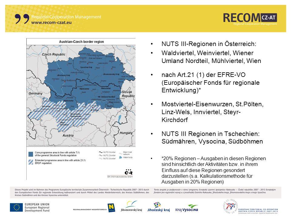 13 NUTS III-Regionen in Österreich: Waldviertel, Weinviertel, Wiener Umland Nordteil, Mühlviertel, Wien nach Art.21 (1) der EFRE-VO (Europäischer Fond