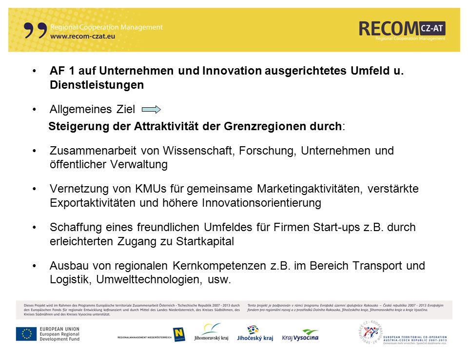 16 AF 1 auf Unternehmen und Innovation ausgerichtetes Umfeld u. Dienstleistungen Allgemeines Ziel Steigerung der Attraktivität der Grenzregionen durch