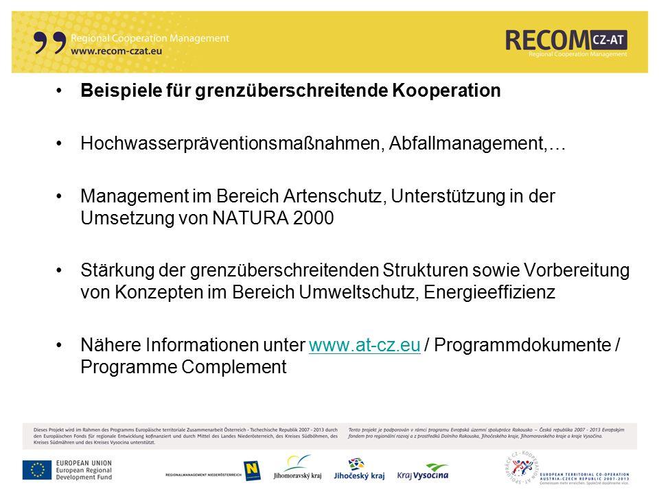 19 Beispiele für grenzüberschreitende Kooperation Hochwasserpräventionsmaßnahmen, Abfallmanagement,… Management im Bereich Artenschutz, Unterstützung
