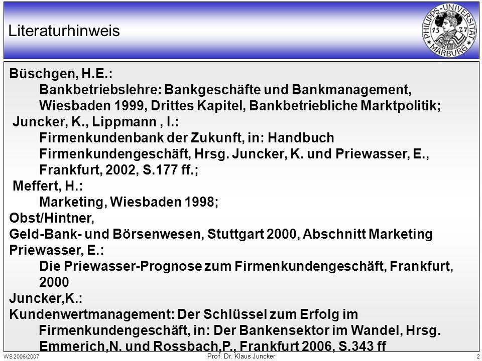 WS 2006/2007 Prof.Dr. Klaus Juncker 3 Inhaltsübersicht 25.